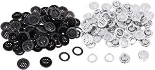 IPOTCH 100 Pairs Silver Black Metal Eyelets With Washers For Clothing Accessories