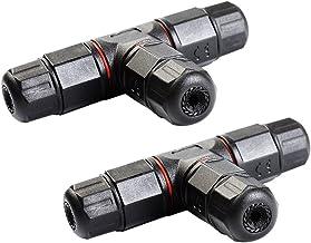 BESTOMZ 2-delige kabelverbinders, kabel-verbindingsbox, waterdicht, aansluitdoos, T-vorm, 3-polig voor kabeldiameter 5-10,...