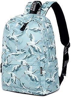 MYXMY Student Bag Female Shoulder Bag Simple Fashion Trend Leisure Bag Student Backpack Crane Printing Korean Backpack