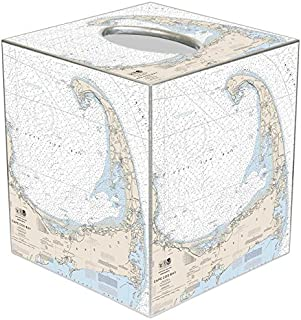 Marye-Kelley Cape Cod Nautical Chart Tissue Box Cover- Bathroom Vanity Countertops, Bedroom Dressers, Night Stands,