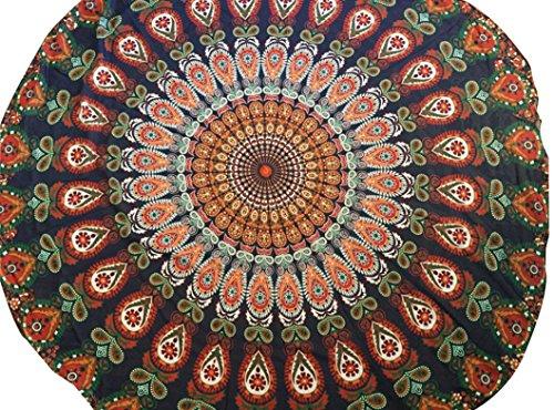 Transer ® Mousseline de soie kaki Plage ronde Piscine d'été Accueil Douche Serviette Blanket Table Cloth Tapis de yoga (Kaki, 150)