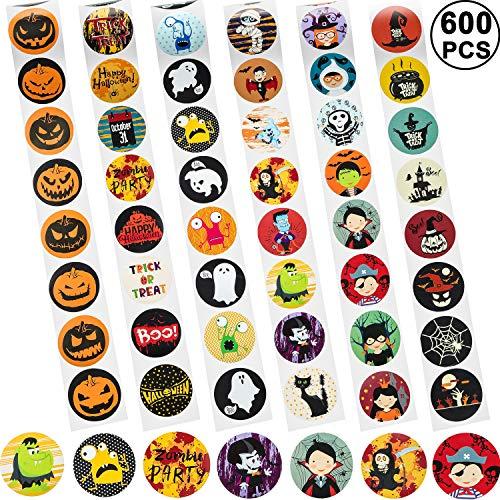 600 Stück Halloween Aufkleber Rolle 48 Stile Gefälligkeiten Runde Etiketten mit Kürbis Geist Hexe Verschiedene Muster für Party Dekorationen Süßes oder Saures Beutel, 6 Rollen