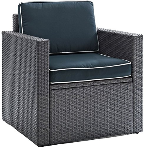 Crosley Furniture CO7102WG-NV Palm Harbor Outdoor Wicker Arm Chair, Gray with Navy Cushions