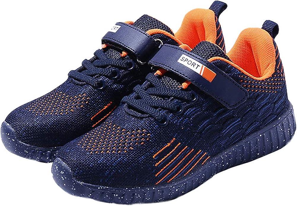 Z.SUO Boy's Lightweight Breathable Sneakers Strap Athletic Running Shoes (Toddler/Little Kid/Big Kid) (3.5 M US Big Kid, Dark Blue Orange)