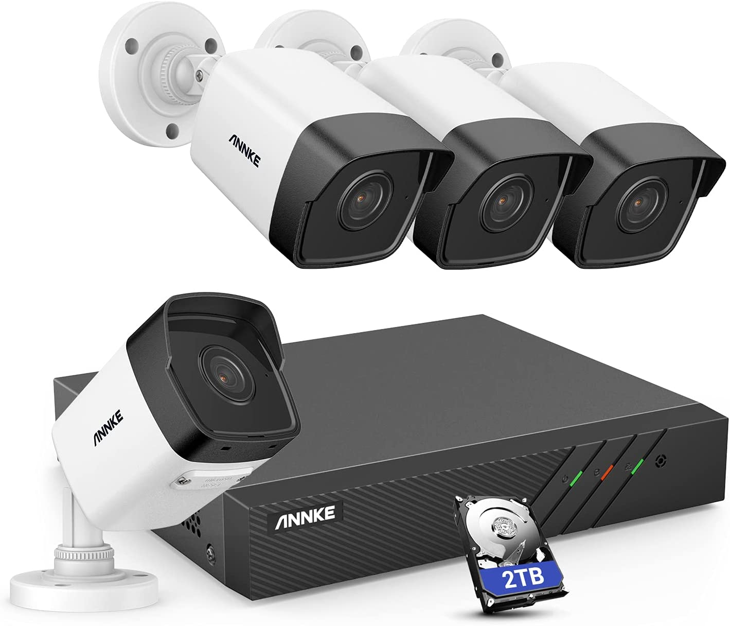 ANNKE H500 8CH Bullet PoE Home Security Camera System with 6MP H.265+ NVR, 4X 5MP Outdoor CCTV IP Camera, 2TB HDD, Audio Recording, 100ft EXIR 2.0 Color Night Vision, IP67 Weatherproof