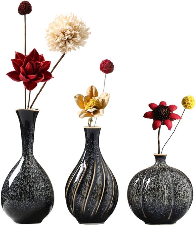 Fairye Costume De Style Européen avec des Fleurs De Vase en Céramique Noire Fleurs Séchées ArrangeHommests De Fleurs Séchées à Un Accessoires De Bureau Meubles