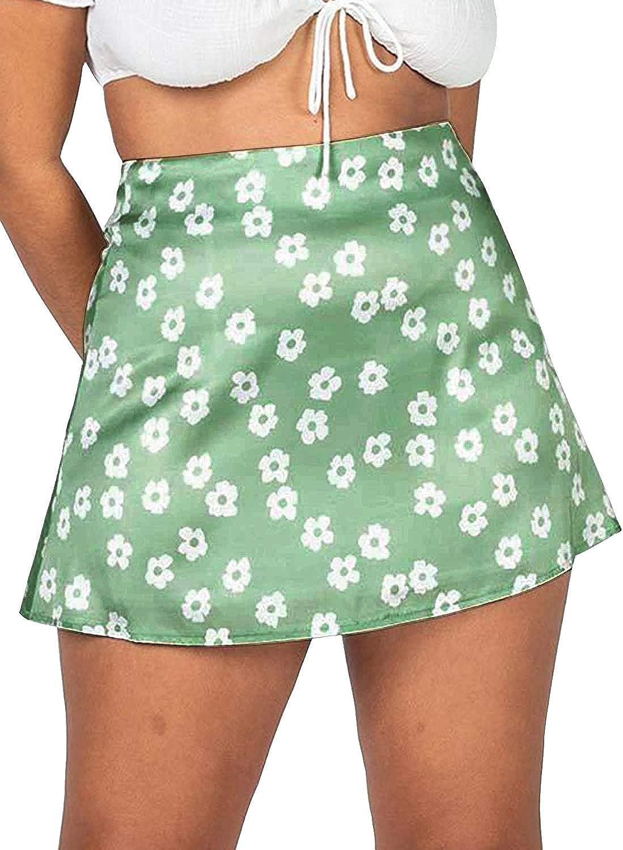 Modegal Women's Casual Floral Print Satin Silk High Waist Zip Up A Line Mini Short Skirt