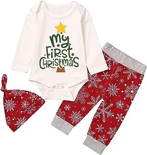 Newborn Boys Girl Romper Top + Pants + Cap Snowflake Print Infant Clothing Set Letter My First Christmas 0-18M