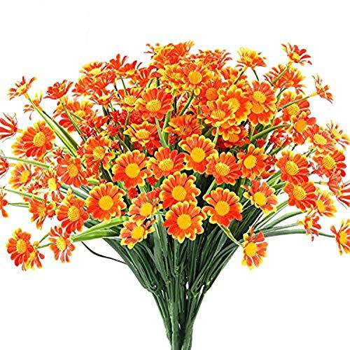 Hzaming - Fiori artificiali di margherita per esterni, 4 mazzetti, piante finte di plastica, per vasi per davanzali, da appendere, per interni ed esterni, Arancione, 4 pezzi