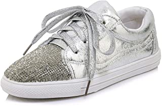 Large Size Shoes Small Code New Casual Shoes Female Comfortable Flat Bottom Strap Single Shoes Women Fashion Rhinestone Shoes Shoes Women's Shoes (Color : Silver, Size : 44)