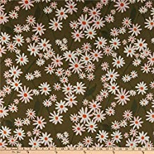 Cloud 9 Organic Lush Batiste Daisy Lattice Green/White Quilt Fabric
