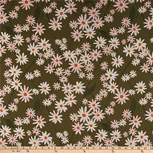 Cloud 9 Organic Lush Batiste Daisy Lattice Green/White Fabric by the Yard