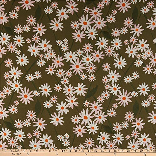 Cloud 9 Organic Lush Batiste Daisy Lattice Green/White Fabric by the Yard