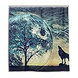alaza Cortina de Ducha Lobo Luna del árbol Estrellado de 72 x 72 Pulgadas, Resistente al Moho...