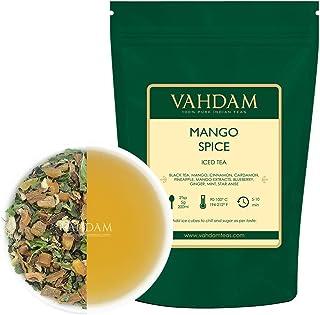 VAHDAM, Mango Especies Té helado chai | 40 porciones, 8 cuartos | Ingredientes 100% naturales | Sabor delicioso de té negro, especias y mango | Té helado de mango | 100gr (Juego de 2) de la india