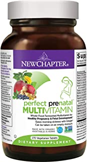 New Chapter Perfect Prenatal Vitamins, 270ct, Organic Prenatal Vitamins, Non-GMO Ingredients for Healthy Baby & Mom - Folate (Methylfolate), Iron, Vitamin D3, Fermented with Whole Foods and Probiotics