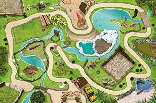 Stikkipix Tierpark Spielteppich | SM04 | Hochwertige Zoo Spiel-Matte für das Kinder-Zimmer | ideales Zubehör zu Spiel-Figuren von Schleich, Playmobil, Papo, Bullyland & Co | 150 x 100 cm