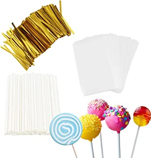 TAIHUIMY 600Pcs 4inch Lollipop Sticks, Cake Pop Lollipops, Chocolates and Cookies Bag Set Including 200 Parcel Bags, 200 P...