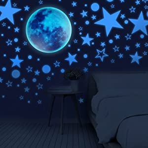 Glow in The Dark Stars for Ceiling,CAMTOA Stars and Moon Wall Stickers,1003 PCS Glowing Stars Realistic Wall Stickers for Kids, Fluorescent Wall Stickers for Bedroom DIY Decoration(Sky Blue)