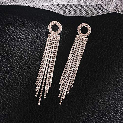 FGFDHJ Pendientes de Gota Redondos para Mujer Pendientes de Cristal Borla Redonda Cuelga Pendiente de Diamantes de imitación de Boda
