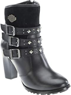 entrega gratis Harley Harley Harley Davidson Abbey Mujer Negro Cuero Biker Heel botas Triple Strap Dress 40  grandes ahorros
