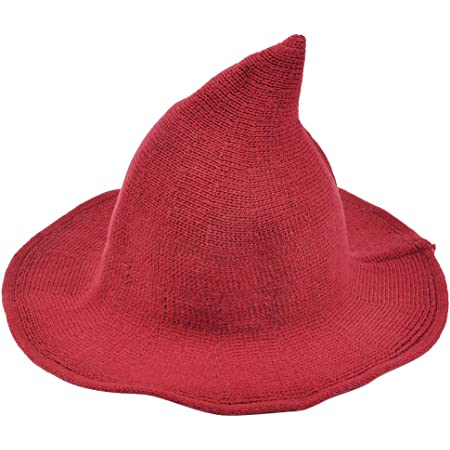 TIMESETL Halloween Witch Hat Wool Knitted Cap Pointed Witch Hat for Halloween Party Masquerade Cosplay Costume Accessory and Daily Hat Red