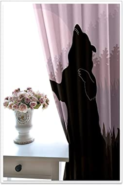 Epinki Polyester Curtains Purple Black Forest Bear Living Room Curtains Set, Available in 21 Sizes, Size 264x160CM