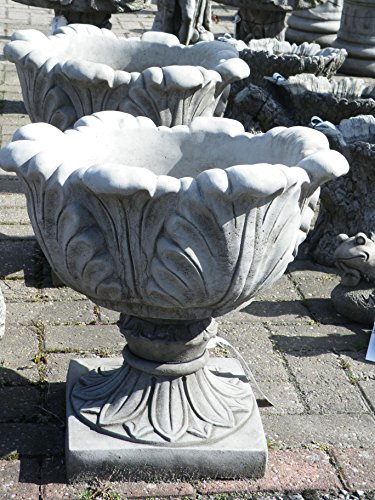 LARGE TULIP VASE PAIR - HAND CAST STONE GARDEN ORNAMENT/FLOWER PLANTER/URN
