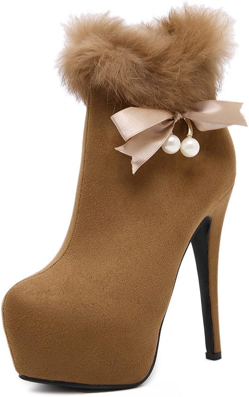 AdeeSu Womens Dress Round-Toe Platform Suede Boots