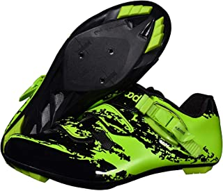 OneChange Road Cycling Shoes, Mens Women Outdoor Sports Mountain Bike Shoes Double Velcro Strip Breathable Anti-Skid MTB Bicycle Shoes (Color : Green, Size : 5.5 UK)