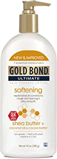 Gold Bond Ultimate Softening Lotion 14 Ounces (Pack of 3) Helps Smooth and Soften Rough and Dry Skin, Non-Greasy Moisture-Rich Cream with Coconut Oil, Shea Butter, Cocoa Butter