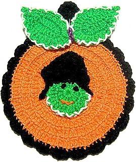Agarradera naranja en forma de calabaza para Halloween de ganchillo - Tamaño: 11.5 cm x 14 cm H - Handmade - ITALY