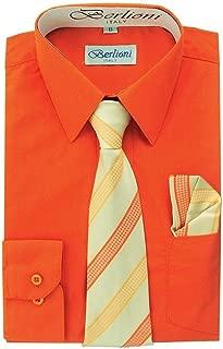 Boys Long Sleeve Dress Shirts Tie & Hanky Many Colors