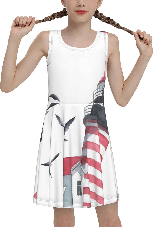 SDGhgHJG Watercolor Lighthouse Sleeveless Dress for Girls Casual Printed Jumper Skirt
