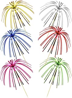 """9"""" Foil Frills Firework Cupcake Picks Assorted Colors Food Picks for Birthday Party Baby Shower Party Decoration, Pack of 100"""