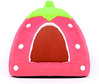 Spring Fever Strawberry Guinea Pigs Fleece House Rabbit Cat Pet Small Animal Bed