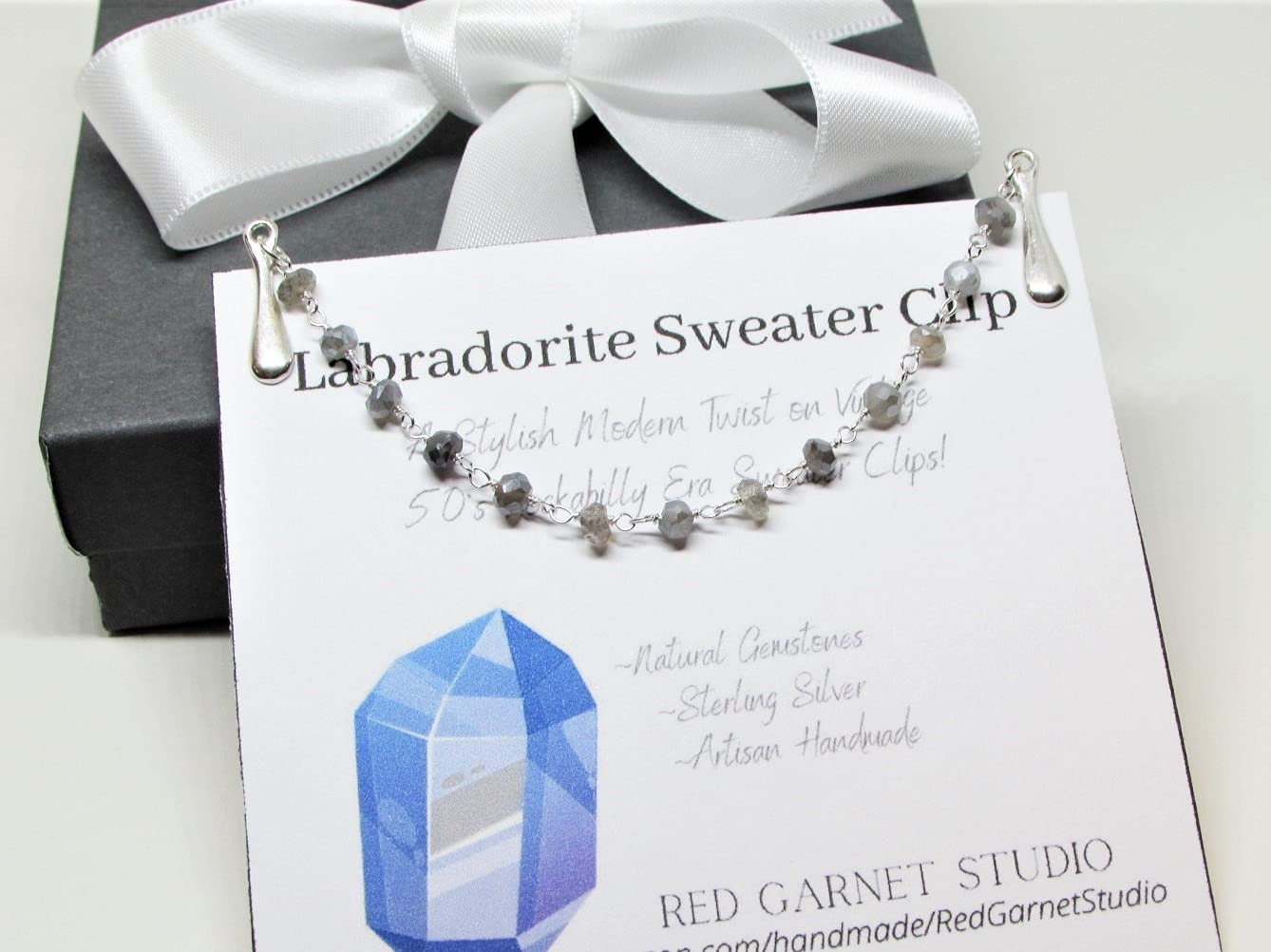 Gray Limited price Free shipping New Labradorite Crystal Sweater Clip Silver Chain- Sterling or