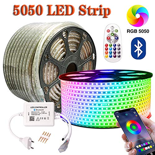 SIGHTLING 20M RGB LED Strip Lichtband mit 24 Tasten Fernbedienung Bluetooth Kontrolliert LED Streifen, 60LEDs/m 5050SMD Lichterkette Wasserdicht IP65 Lampenband