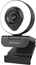 Webcam Streaming 1080P Full HD with Dual Microphone and Ring Light, Aoboco USB Pro Web Camera Stream for Windows Laptop Tw...