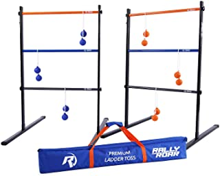 Rally and Roar Metal Ladder Toss Game Set with 2 Targets, 6 Rubber Bolas, Zippered Carrying Case - Premium, Portable Ladde...