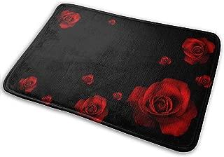 DENETRI DYERHOWARD Bath Mat Beautiful-red-flowers-black-rose-nature-roses-wallpaper-3d-hd Non Slip Bath Rug Washable Bathroom Soft Kitchen Floor Door Mat