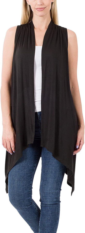 FashionMille Women Asymmetrical Draped Open Front Sleeveless Jersey Vest Cardigan | S-3XL