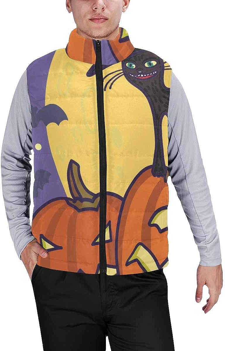 InterestPrint Men's Outdoor Casual Stand Collar Sleeveless Jacket Halloween Bats and Pumpkins