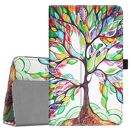 Fintie Folio Case for Samsung Galaxy Tab A 8.0 2018 Model SM-T387 Verizon/Sprint/T-Mobile/AT&T, Slim Fit Premium Vegan Leather Stand Cover, Love Tree