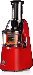 Ventray Slow Press Masticating Juicer,Easy to Clean,Reverse Function, BPA Free,Large Feed Chute,Juice Extractor,Brush,Recipe,Juice Jars,Red