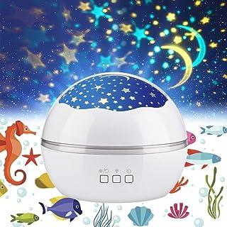 AEDO AEDO 投影ランプ 寝しつけ用おもちゃ 海洋・スタープロジェクター 星空ライトプロジェクター ナイトライト ベッドサイドランプ インテリア USB/電池兼用 360°回転 8モード 多色変更可能 子供プレゼント 誕生日ギフト ホーム パーティー飾り (ホワイト)