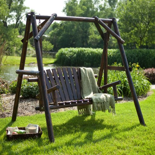 Coral Coast Rustic Torched Log Curved Back Porch Swing and A-Frame Set
