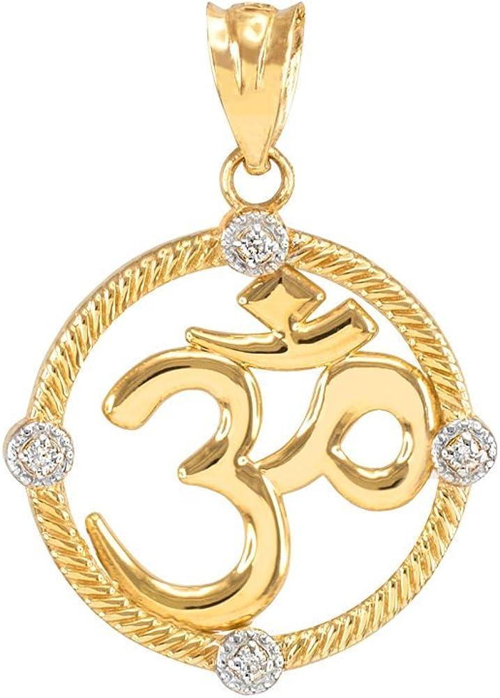 14k Yellow Gold Diamond Roped Medallion Yoga Om Charm Pendant