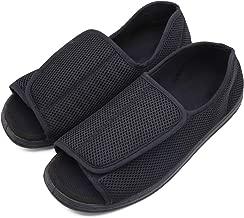 Men's Open Toe Diabetic Recovery Slippers, Adjustable Orthopedic Wide Width Walking Shoes for Arthritis Edema Swollen Feet Elderly Men