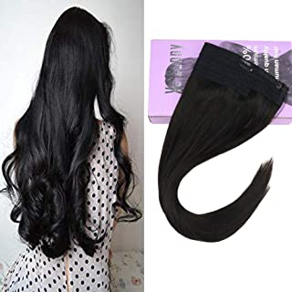 VeSunny 16inch Halo Black Hair Extensions Brazilian Human Hair Color #1B Natural Black Hidden Invisible Crown Human Hair Extensions Off Black Straight Hairpiece 80G/Set